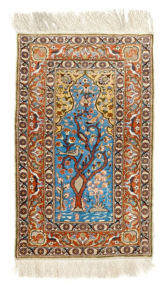 2.3×3.8 Ft One of a kind Vintage Turkish Village Rug. Decorative Handmade SILK carpet. Ideal for timeless traditional home or office decor