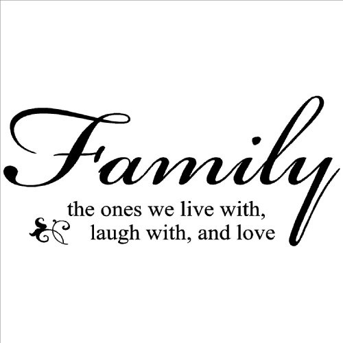 Family the ones we live with laugh with and love Vinyl Lettering Wall Art Sticker Transfer Decor