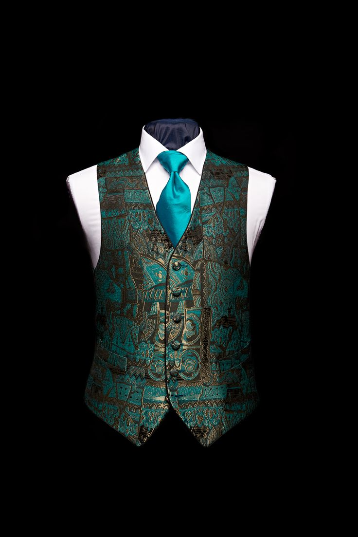 Green and gold limited edition silk damask waistcoat with green silk piping detail - click here to zoom