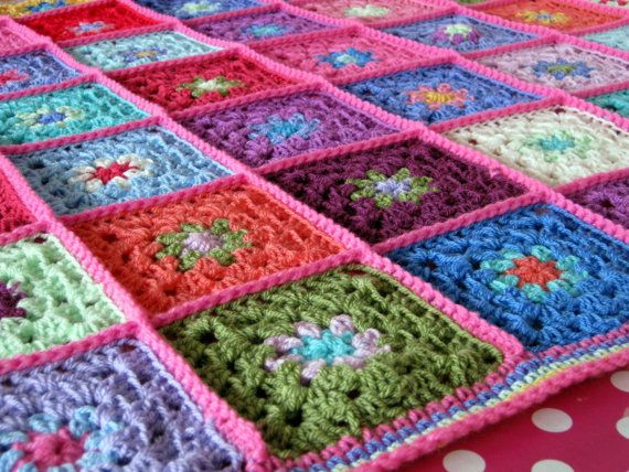 Candy Pink Gorgeous Granny Square Crochet Blanket by Thesunroomuk, £105.00