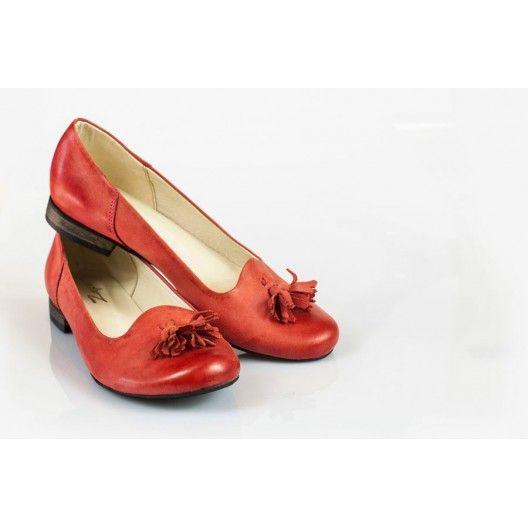 Női bőr ballerinas piros DT026 - manozo.hu