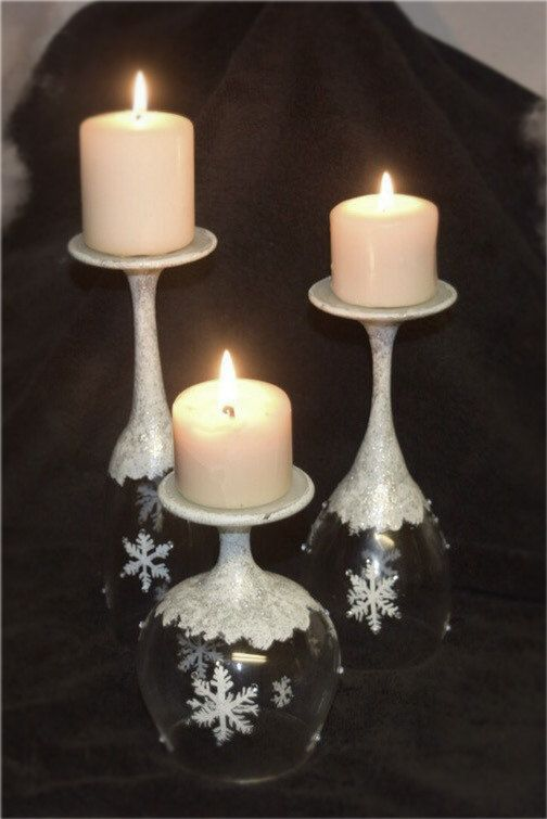 Hand painted snowflake wine glass candle by sweetvioletsdesigns