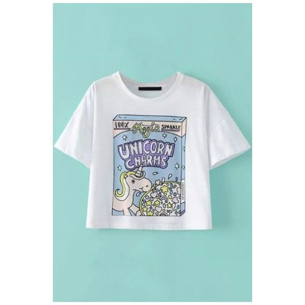 Unicorn & Sequined Letter Print Short Sleeve Round Neck Cropped Tee (305.510 IDR) ❤ liked on Polyvore featuring tops, t-shirts, crop top, sequin crop top, cartoon graphic tees, graphic tees and sequin top