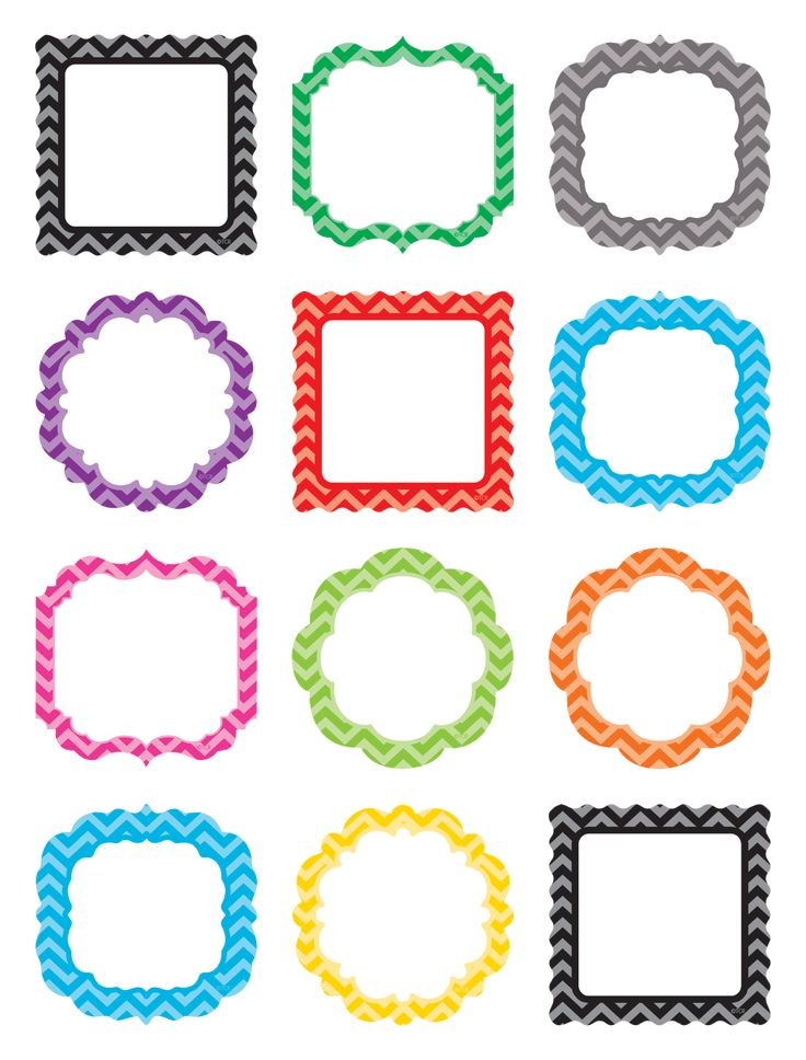 """Chevron Frames Mini Accents - Have fun decorating with these colorful little pieces that measure about 2 5/8"""". Use them to accent displays, to fill in monthly calendars, or as pieces for learning games like sorting, patterning, and graphing. 10 colors/shapes. 36 per pack."""