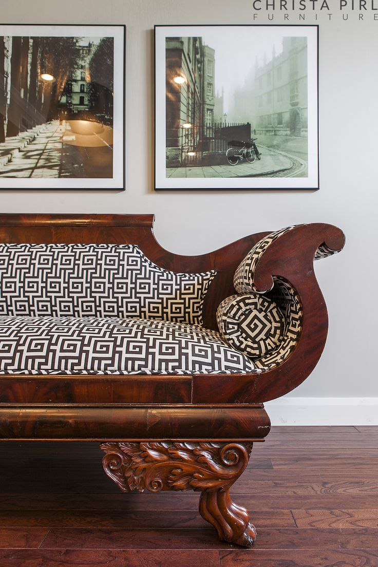 Aphrodite, Antique Empire Settee in New Greek Key Fabric - eclectic - sofas  - salt lake city - Christa Pirl Furniture - 112 Best Christa Pirl Furniture Images On Pinterest Furniture