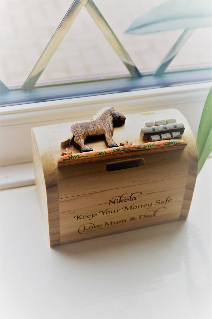 Childrens wooden money box, personalised money box, animal money box, christening gift, childs birthday gift, money box, moneybox by celebrateyourway on Etsy https://www.etsy.com/uk/listing/517353727/childrens-wooden-money-box-personalised