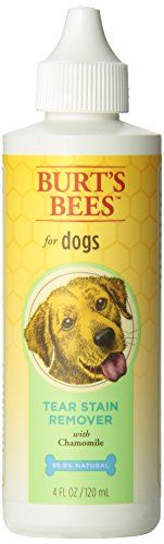 Burts Bee Tear Stain Remover, 4-Ounce. Safe, natural, non-irritating stain remover. Gently cleanses to remove stain-causing particles from fur beneath your dog's eyes. Easy to use solution.