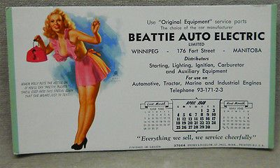 Vintage Earl Moran Pinup Advertising Blotter Calendar April 1948.