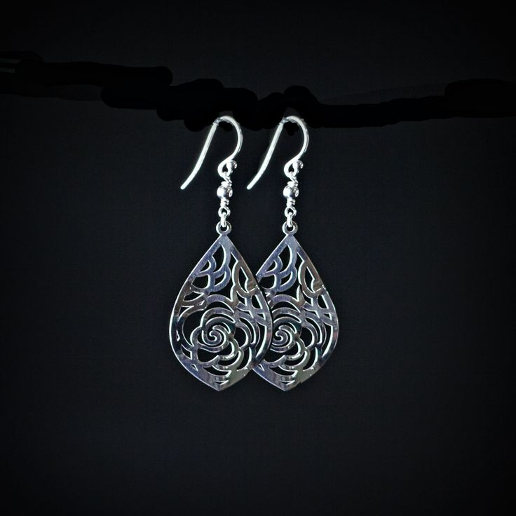 [Rose Drop Earrings] These striking rose earrings, in sterling silver, have been laser cut in a flattering teardrop shape. Simply stunning. AUD$50 http://925andco.com.au/shop/shop/rose-earrings-2/