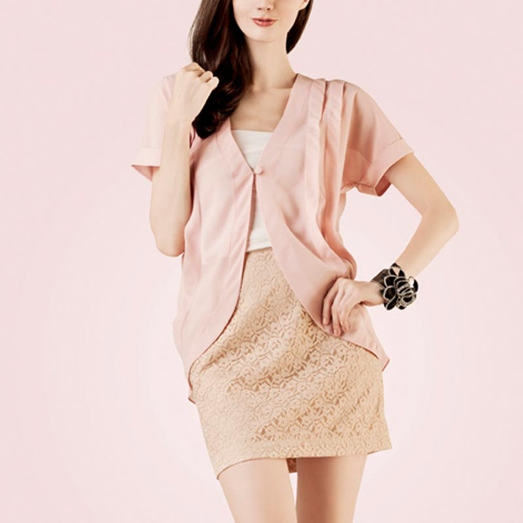 POPLIN One Button Cardigan Pink