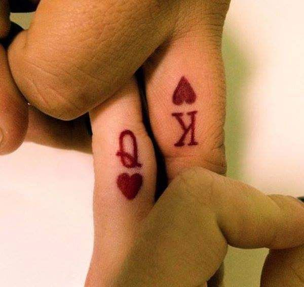 king and queen of hearts tattoo for couples