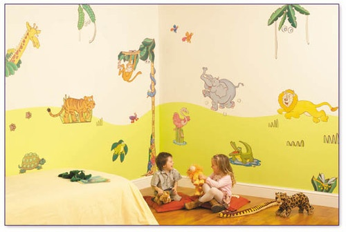 FunToSee Wandsticker wiederverwendbar Wandtattoo Dschungel Safari Wandbild XL