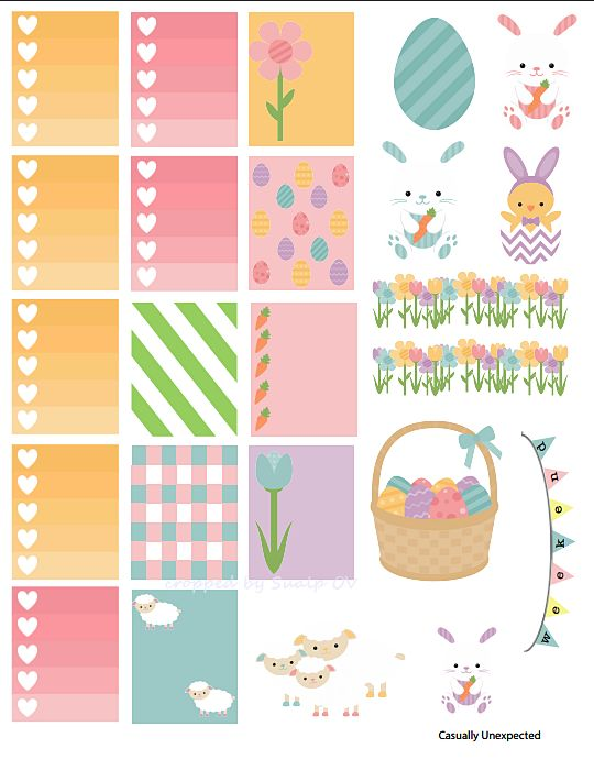 FREE Hoppy Easter Printable Planner Stickers : Casuallyunexpected