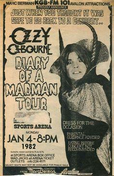 Ozzy Osbourne tour poster 1982 San Diego