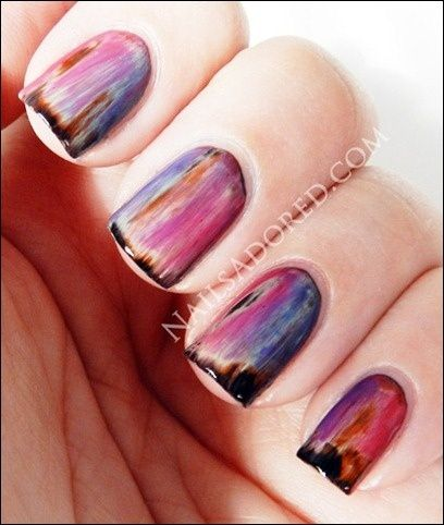 Very interesting effect achieved by layering colours over black and then removing them with acetone and a paint brush. tinyaptcrafts