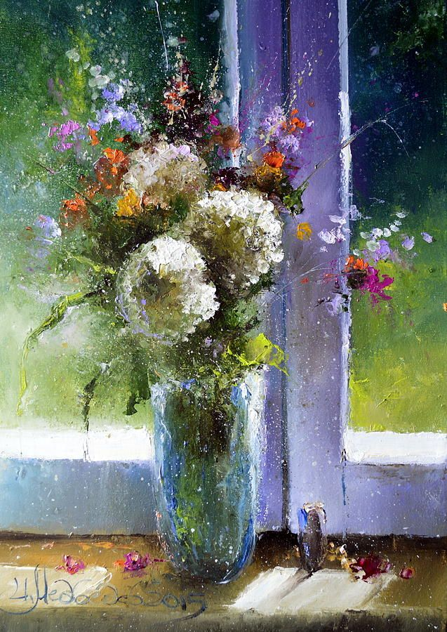 Bouquet At Window Painting by Igor Medvedev  #RussianArtistsNewWave #Painting…