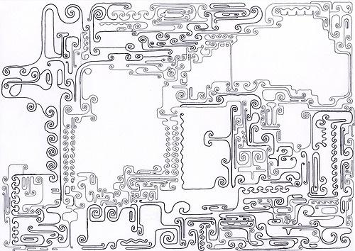 FÖ9. Without title, Finn Öhlund. Original artwork. Pen on paper. Size A4.