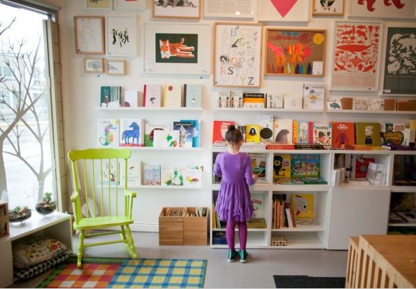 These little ledge type shelves can be purchased at Ikea very inexpensively.  As many extra children's books as we all have, would be a nice addition to the bunk room.  Provides colorful and modern wall art, takes up little space so room feels spare and no need to buy book shelf