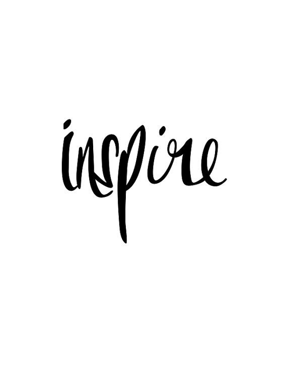 Inspirational Print Inspire Black and White by TheMotivatedType: