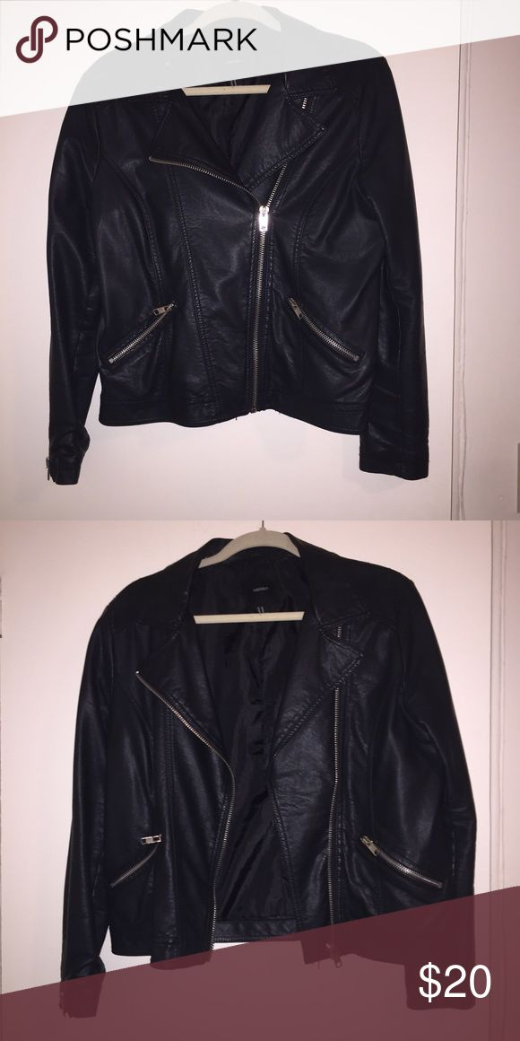 Faux Leather Jacket (Open to Offers) Black faux leather jacket from Forever 21. Super comfy and stylish! Worn but in good condition. Tear on the inside back of the jacket that can be easily repaired. Forever 21 Jackets & Coats