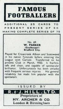 1939 R & J Hill Famous Footballers Series 2 #69 Wilson Parker Back