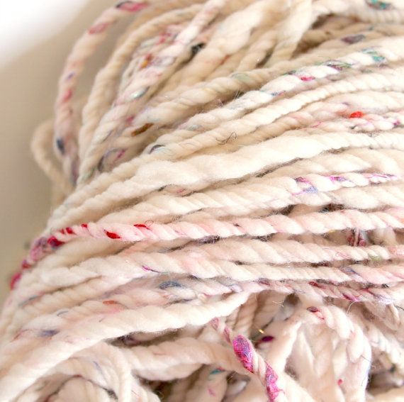 3ply bare with sari silk and sparkles .. handspun by MissKnitYarns