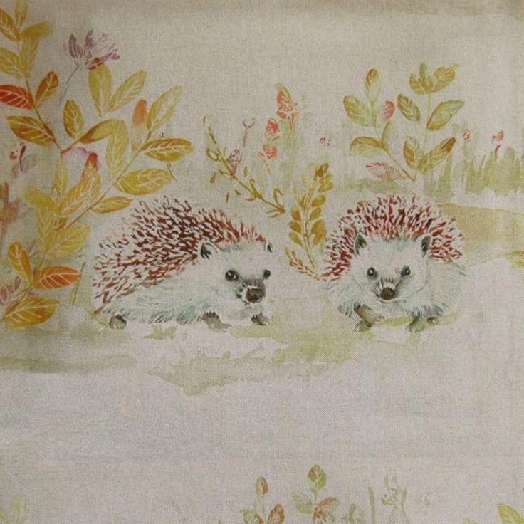 Mr & Mrs Hedgehog - Linen fabric, from the Country Book 3 collection by Voyage