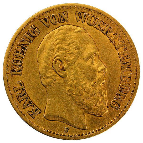 10 Mark Karl I. von Württemberg - Goldmünze J292