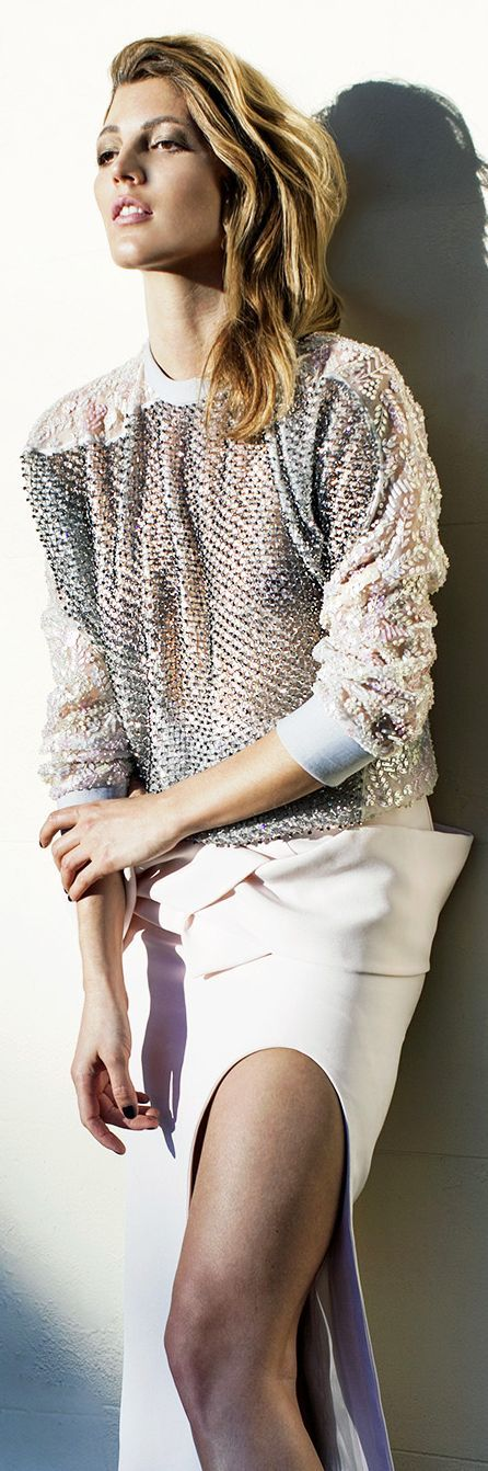 Toni Maticevski Grey Sprinkle Open Weave Knit Jersey | The House of Beccaria~