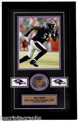 RAY LEWIS SUPER BOWL XXXV RING COLLAGE BALTIMORE RAVENS FRAMED 8X10 FLACCO REED
