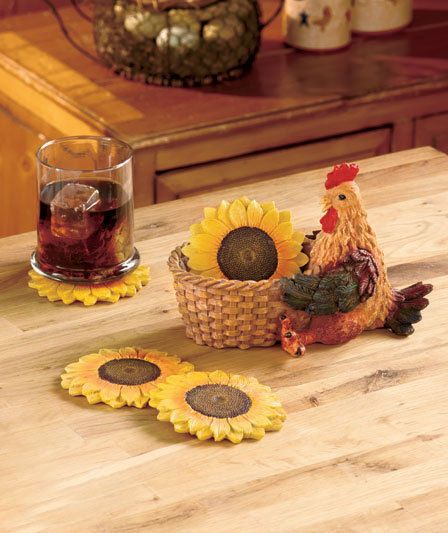 5 Piece Sunflower Rooster Country Coaster Set Kitchen Bar Party Farm Home  Decor | Home U0026