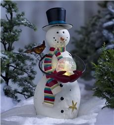Indoor/Outdoor Snowman Sculpture with Color-Changing Glass Ball