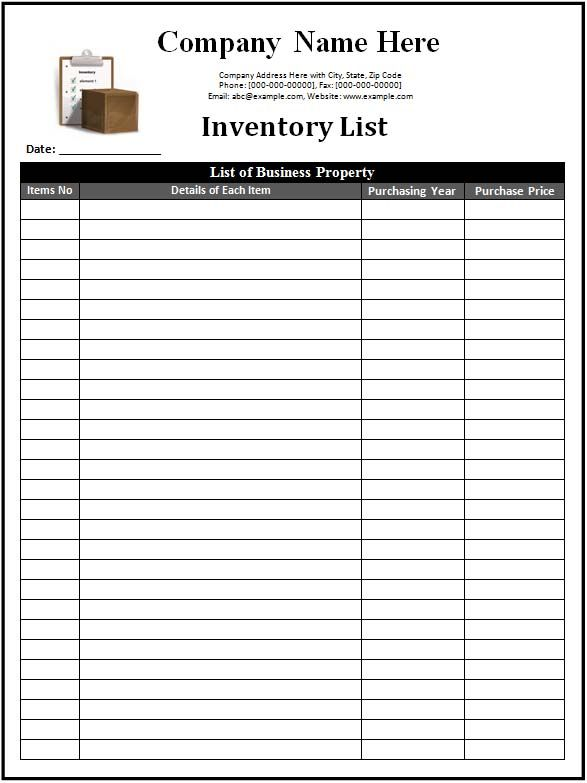 Inventory List Template : Faraping