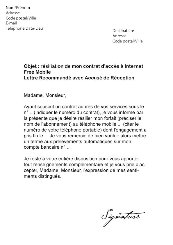 lettre de resiliation free mobile sans engagement