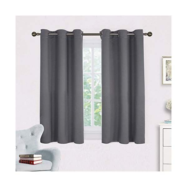 Nicetown Grey Blackout Curtain Panels For Bedroom Thermal