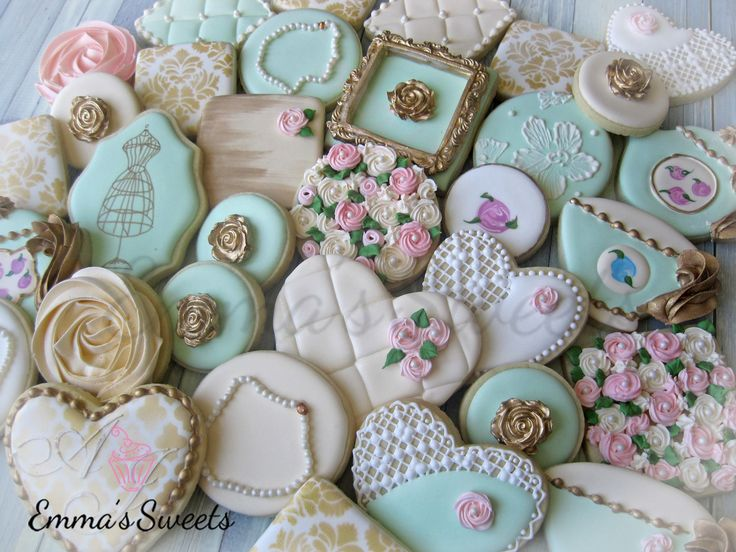 Vintage Cookies By Emma Ssweets Via Facebook Pink Teal