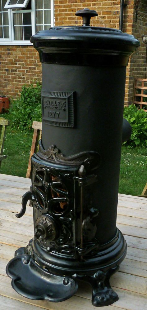 STUNNING ART NOUVEAU ANTIQUE FRENCH STOVE BY DEVILLE - WOOD AND COAL BURNING