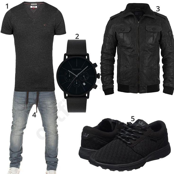 Lässiges Herren-Outfit mit schwarzem Tommy Hilfiger Shirt, Wotega Sweat-Jeans, Solid Lederjacke, Gigandet Chronograph und schwarzen Supra Sneakern.