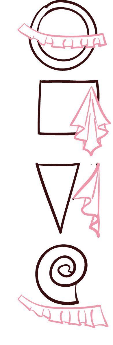 Formes géométriques de base pour drapés_flounce (and billions of other tutorials at 365 sewing)