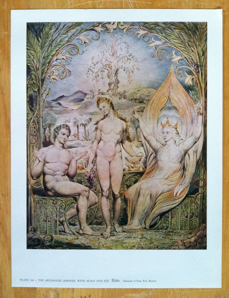 William Blake - The Archangel Raphael With Adam And Eve.