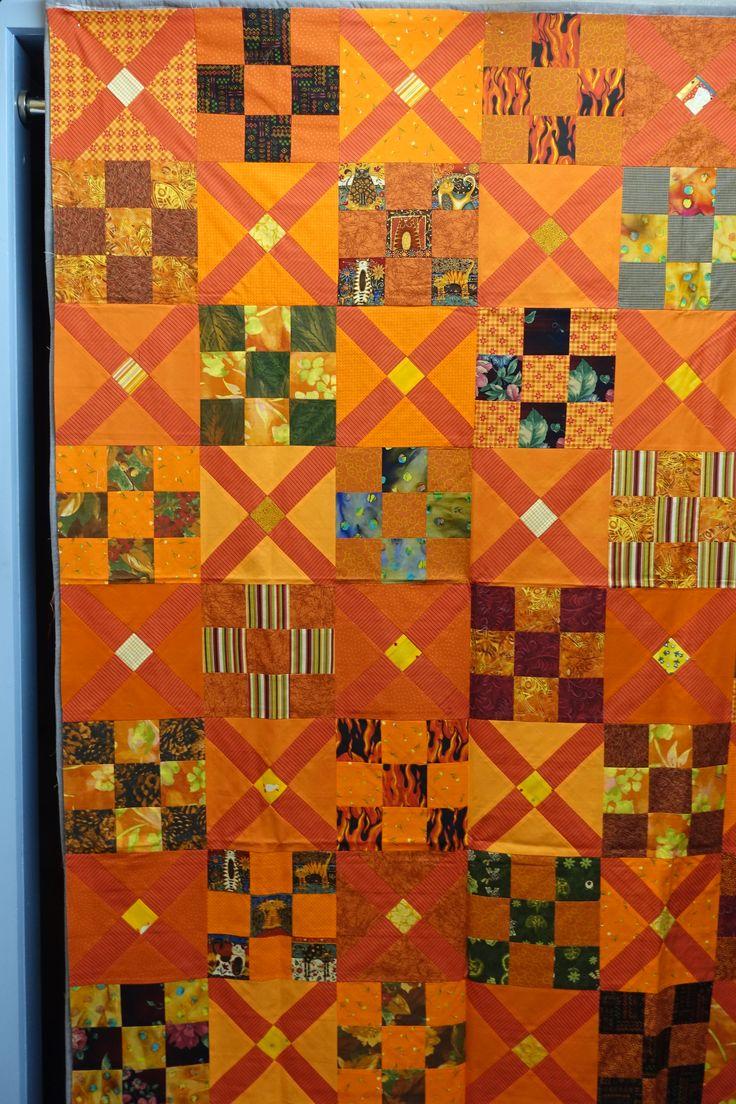 Orange /Gelber Quilttop 130 x170cm  Gespendet