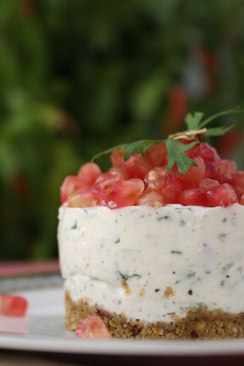 Savoury Feta and Pomegranate Cheesecake with Pistachio, Mint and Parsley..intriguing recipe for a savory, not sweet cheesecake