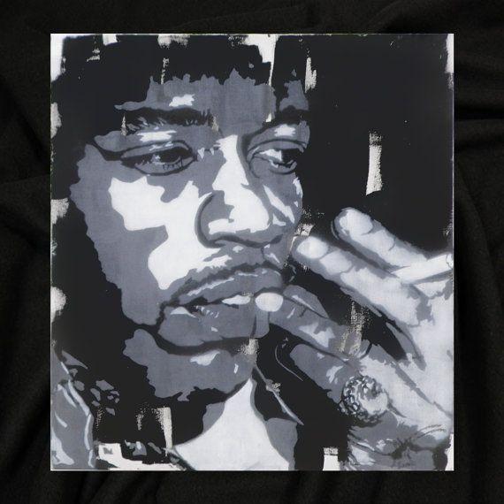 Jimi Hendrix smoking 3/3 by Fü  73x81cm   Stencil par FuStencil, €380.00