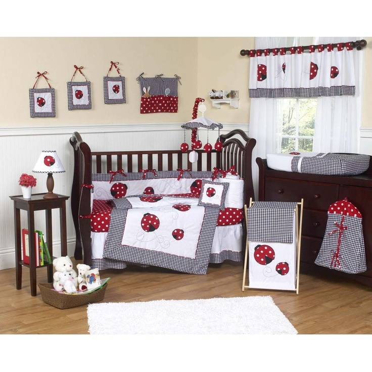 Ladybug Nursery Wall Painting And Decorating Ideas Decorations Crib Bedding Sets Mod Baby Room Designs Decor