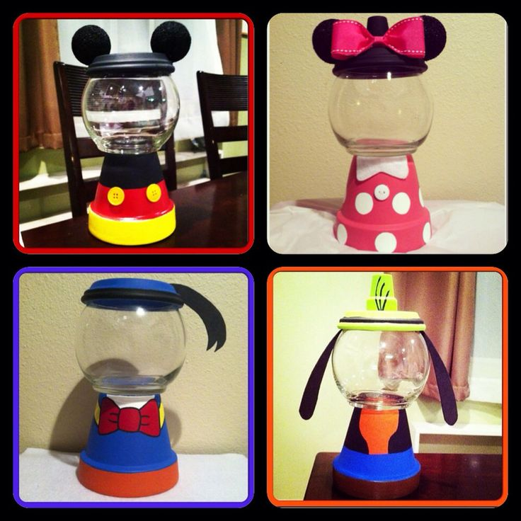Mickey and Friends Inspired Candy Jars (4 Jars) by GCraftyHands on Etsy https://www.etsy.com/listing/199502749/mickey-and-friends-inspired-candy-jars-4
