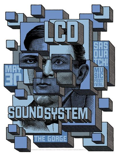 LCD Soundsystem!!!!: Festivals 2010, Concerts Design, Picture-Black Posters, Mike King, Gig Posters, Baubauhaus Illustrations, Rocks Posters, Music Festivals, Lcd Soundsystem