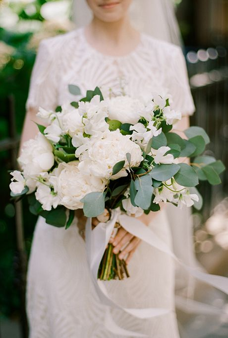 Brides: White and Green Peony, Stock, and Eucalyptus Bouquet. Each week for the past year, we've brought you five unique and beautiful real weddings, all of which are filled with inspiring details and heartwarming love stories. While we loved each and every part of these pretty fêtes, one of the aspects that really won our hearts were our brides' beautiful bouquets. So, if you're on the hunt for your own spectacular arrangement of blooms, look no further than these memorable bouquets.