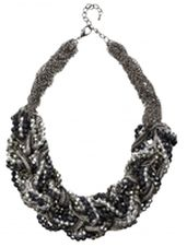 Braided statement necklace, silver, black and gun black beads - only 1 left