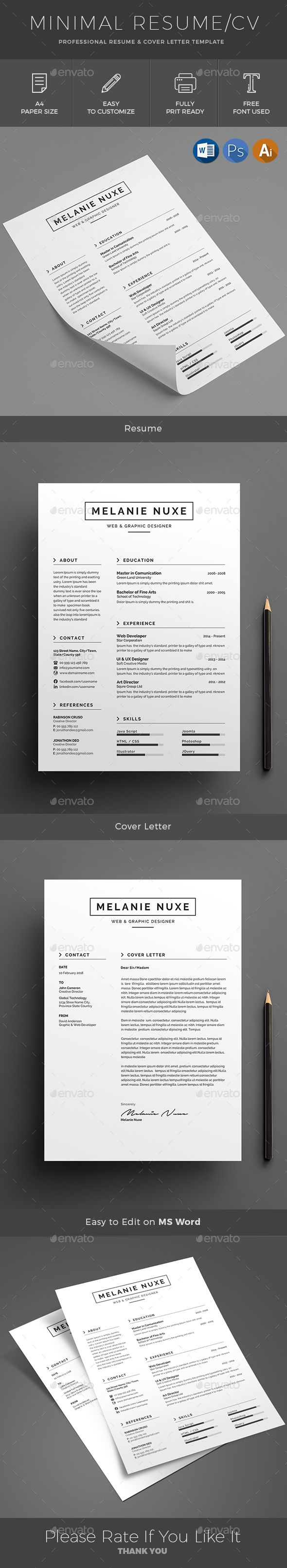 ResumeCV Word Template is a Minimal bold