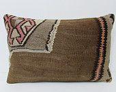 16x24 kilim pillow lumbar throw pillow case modern pillow case aztec cushion cover southwest pillow case bohemian cushion brown pillow 24984